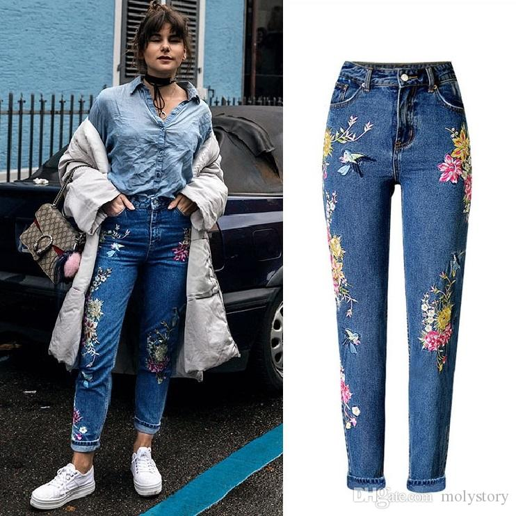 178a9394bc2 New Fashion 3D Flower Ladies Jeans with Embroidery Mid Waist Casual ...