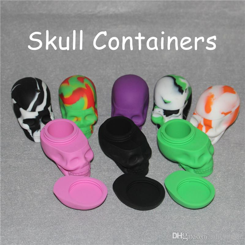 Newest Skull Silicone Hash Oil Container Oil Slicks Container Skull Silicone Container Wax Dab Jar Platinum Cured Oil Cosmetic Containers
