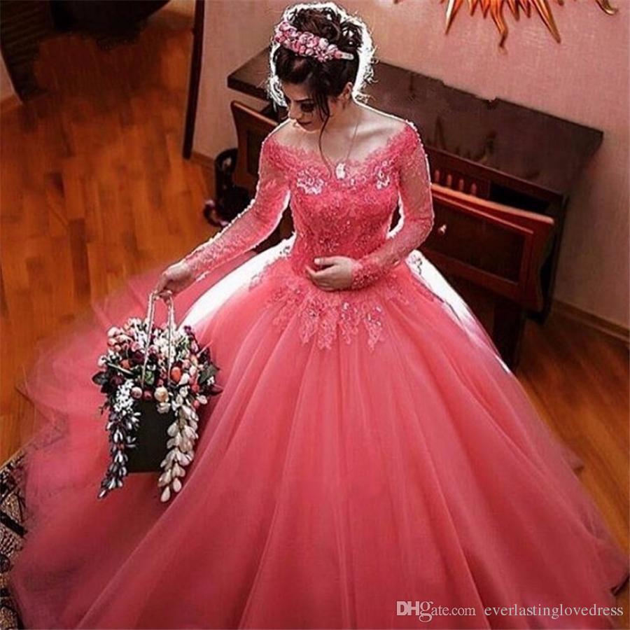 Coral Pink Long Sleeve Ball Gown Wedding Dresses Appliques Lace Off The Shoulder Tulle Manga Longa Bridal Gowns Vestidos De Novia Linen Dress Plus: Coral Pink Wedding Dresses At Websimilar.org