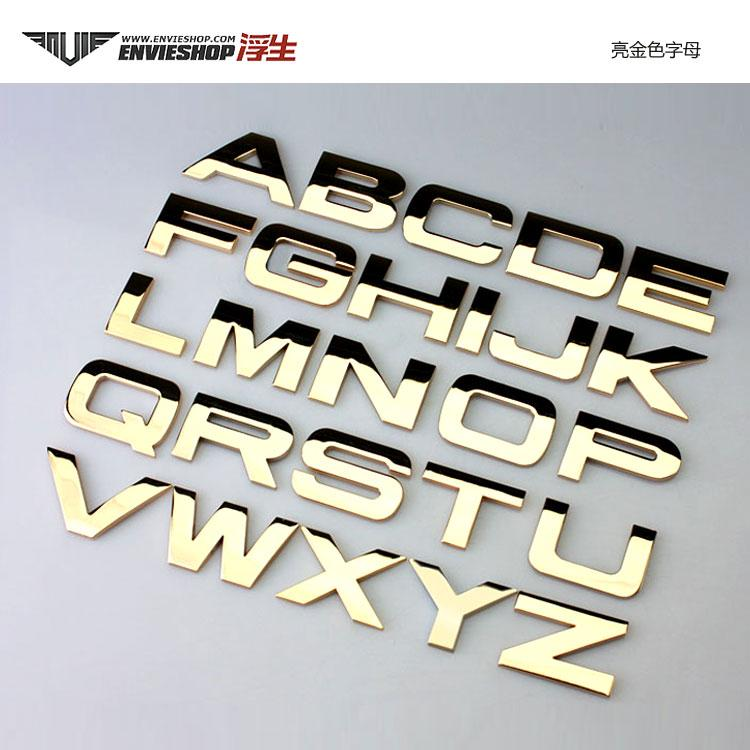 Mm black gold letter and numbers metal chrome car emblem badge decal numbers letters