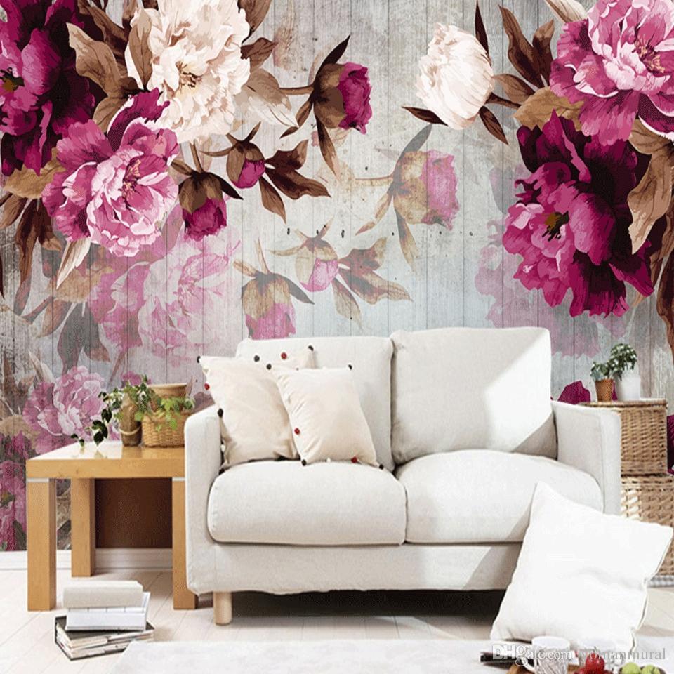 Пользовательские фреска обои современная гостиная ТВ фон обои романтический цветок розы нетканые обои для спальни стены 3D