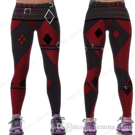 d80b14141162 Red Harleen Quinzel Power Flex Yoga Leggings Batman Harley Quinn ...
