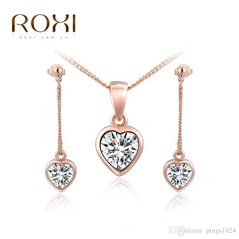 2018 Roxi Jewelry Set Top Quality Rose Gold Plated Aaa Zircon Heart