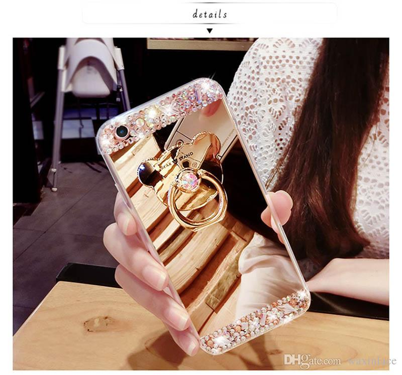 Diamond Mirror bear Case For iphone 6 Rhinestone Crystal TPU Cover for iphone 6S 6 Plus Case 4.7' 5.5' Phone Cases