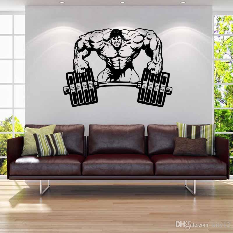 Men weightlifting sport train hard vinyl wall stickers - Mens bedroom wall art ...