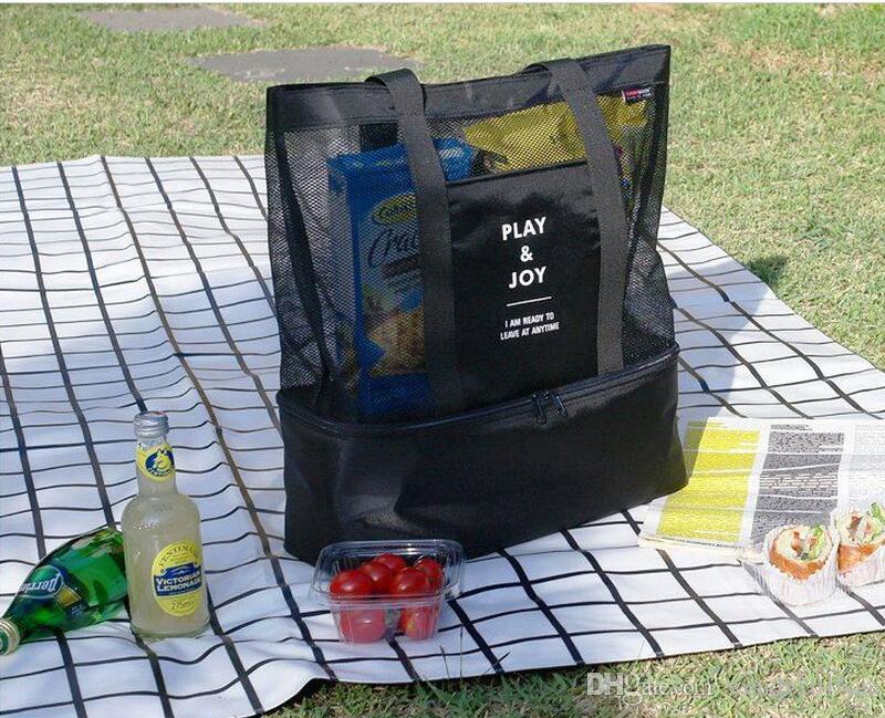 2 قطع 2017 جديد أزياء الشاطئ برودة أكياس الغداء في kichenware شبكة تخزين حمل حقيبة