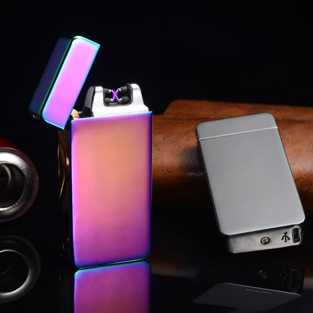USB Électrique Arc Double Flamme Sans Flamme Rechargeable Coupe-Vent Briquet Double Croix Ligthers Fumant plus léger