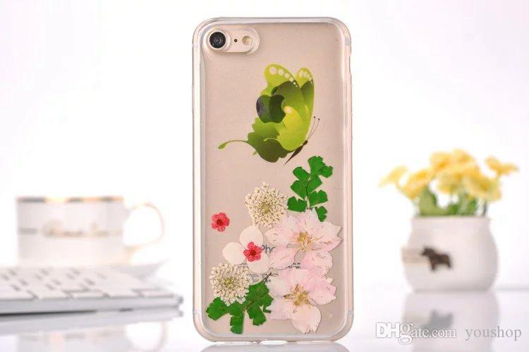 Handmade Real Pressed Dried Flower Butterfly Transparent TPU Case Cover Skin for iphone 7 Ultra Slim