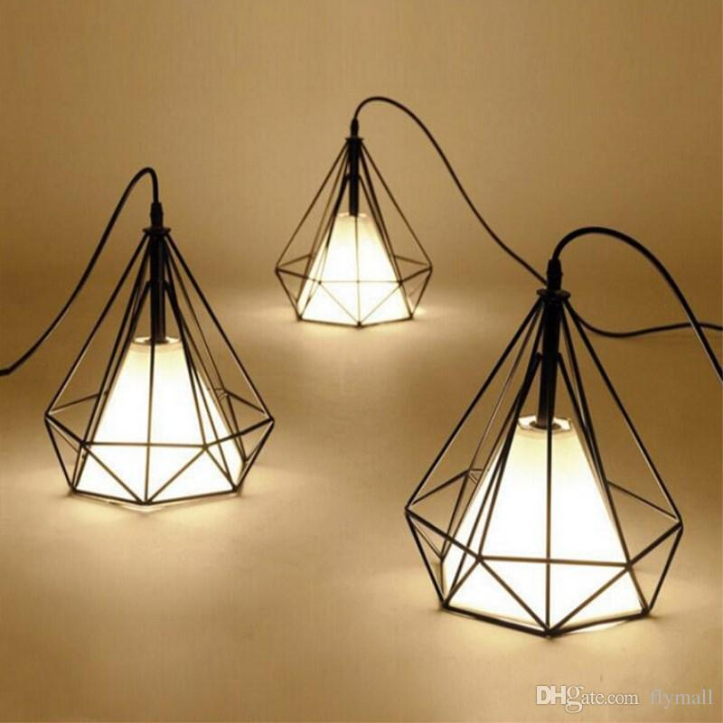 Vintage Chandelier Industrial Ceiling Light Bird Cage Pendant Lighting Art Diamond Pyramid Pendant Lamps for Kitchen Dining Room Bar Hallway