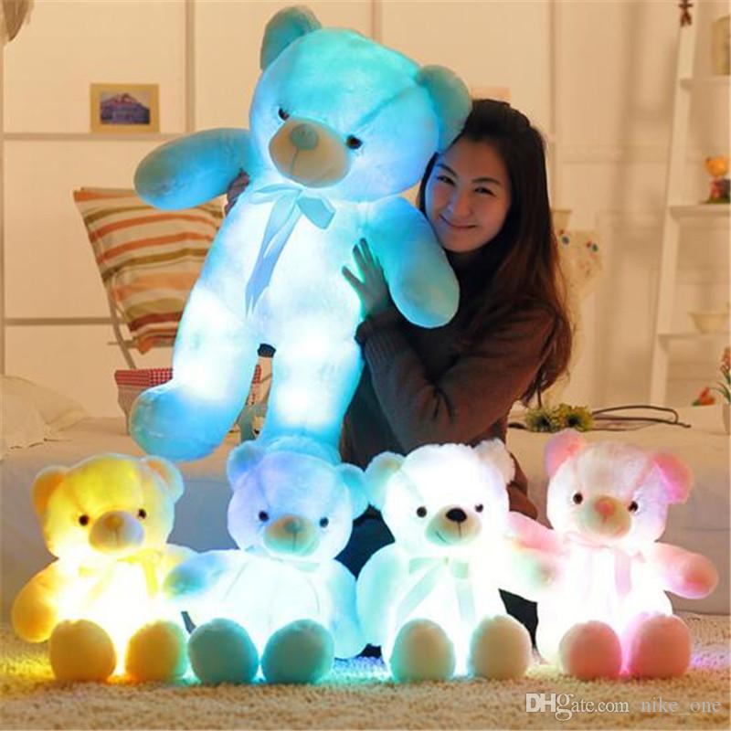 38edb22aa 2019 80cm LED Giant Teddy Bear Cute Light Plush Toys For Kids Doll Bow Tie Bear  Stuffed Animals Toys Plush Doll Children Gift From Okbrand