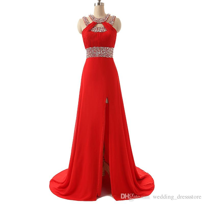 Prom Dresses Fast Shipping 2017 Vestido De Formatura Longo Real Photos Red Chiffon Evening Party Dress with Slit Side