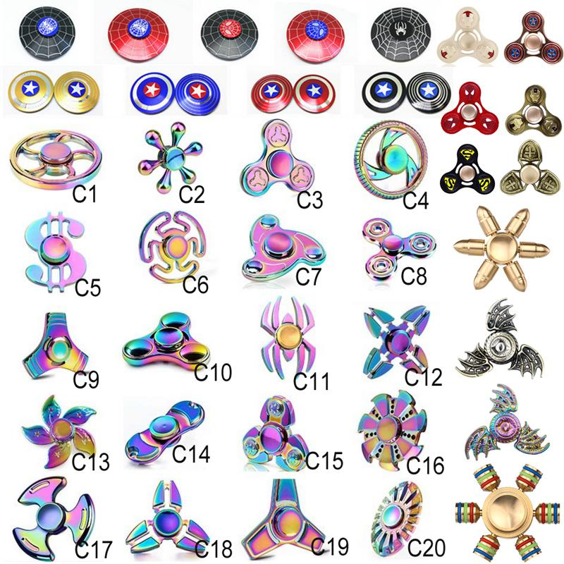 EDC Fidget Spinner rainbow toy Captain America Hand tri spinner Dragon EDC beer bottle Toy For Decompression Anxiety Toys dhl ZH