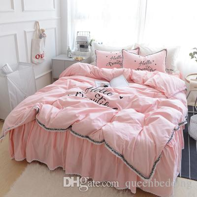 Pure white cotton solid color grey brief luxury bedding sets HELLO words pink queen king duvet cover bedsheet pillow case sets
