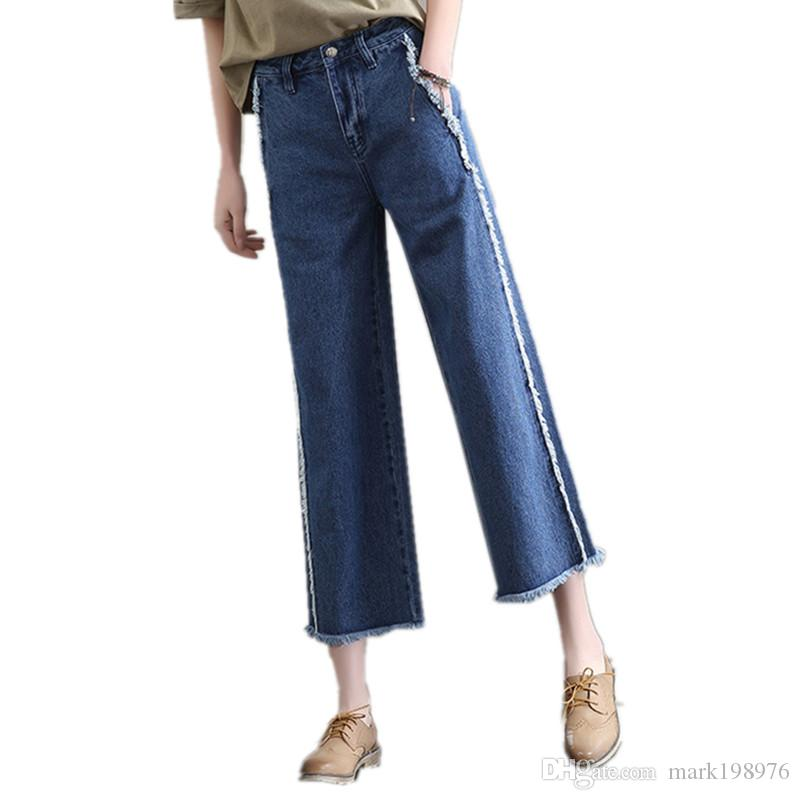 Bottoms Jeans Hot Sale 2019 New Retro High Waist Wide Leg Jeans Women Spring Fashion Pockets Burr Denim Pants Casual Loose Trousers