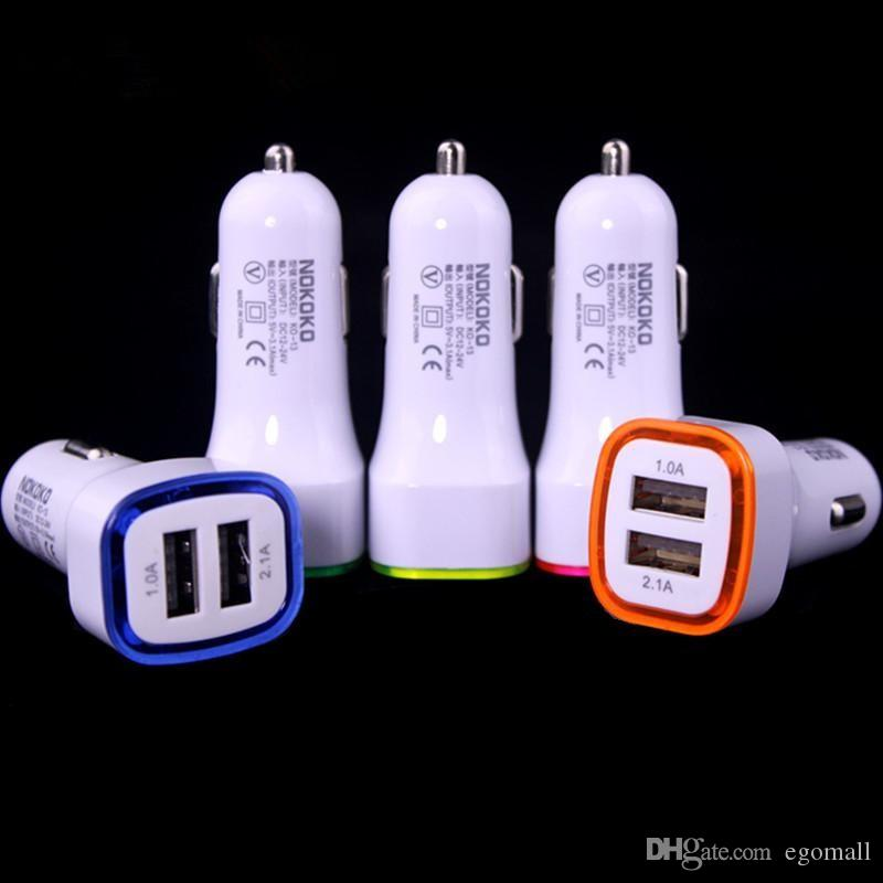 Rocket Design LED light 5v 2a Dual USB Car Charger adapter 6 6S 7 Plus Samsung Galaxy S7 Universal