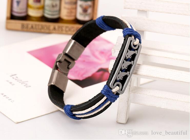 2017 new fashion Man woman Cowhide bracelet Toggle clasps 100% cowhide bracelet Dolphin leather Couple Bracelet Punk jewelry