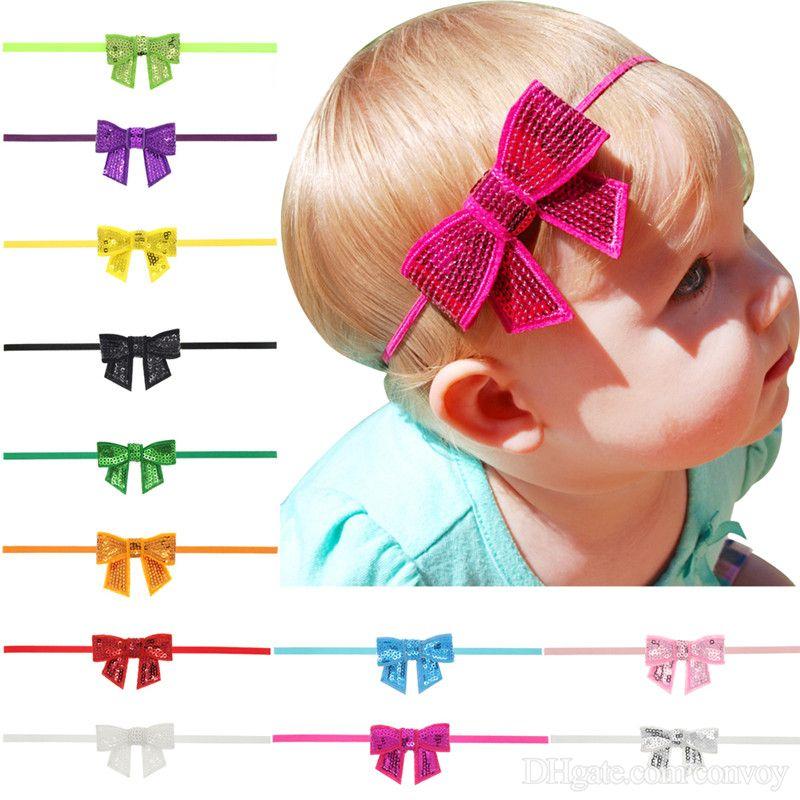d9f66a6bcda Baby Headbands Shiny Paillette Bow Headband Infant Kids Hair Band ...