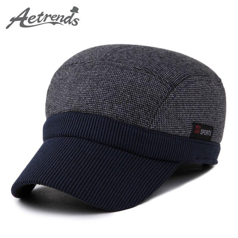 f1dd207d025c0c Wholesale- AETRENDS 2016 New Winter Warm Flat Hat Men's Baseball Cap ...