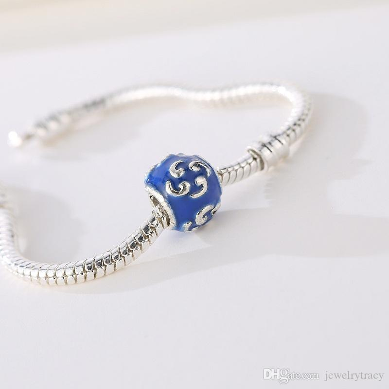 Blue bead with crystal European spacer charm fit Pandora Chamilia Biagi bracelet Fits Pandora Bracelets Charm Beads