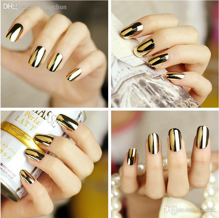 Wholesale 2015 New Metallic Artificial Nails Fashion Stiletto Tips ...