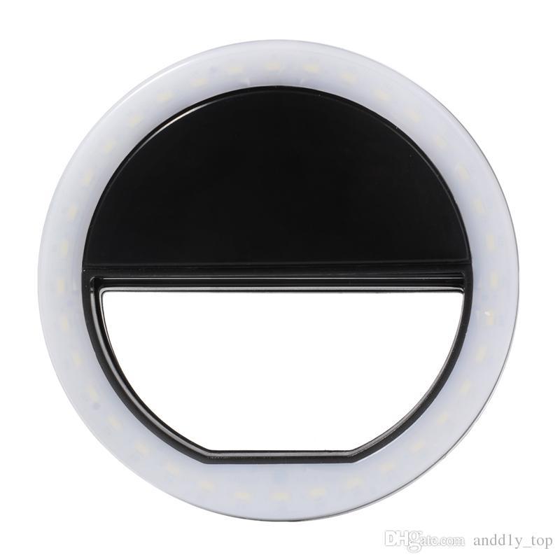 l'anello LED Flash Light Iphone X ricaricabile universale di lusso del telefono Smart Active fino selfie luminoso telefono l'iPhone Android con ricarica USB