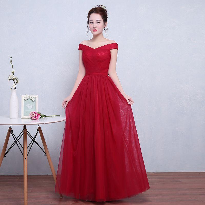 16216a5fd Roupa De Festa Elegante Borgonha Vermelho Longo De Tule Plissado Vestidos  De Noite Vestido Longo Festa Mulheres Vestidos Fora Do Ombro Vestidos  Formais ...