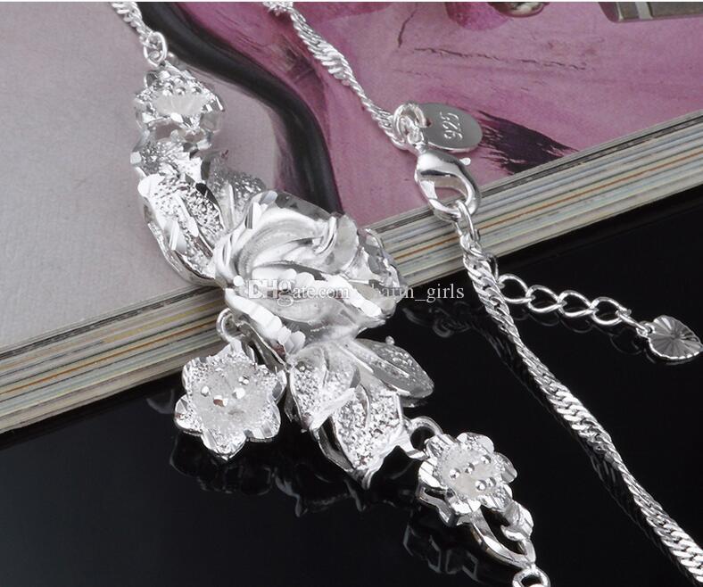 2017 горячие продажи Марка 925 серебряные пластины роза цветок ожерелье браслет женщина свадьба Роза браслет ожерелье комплект ювелирных изделий