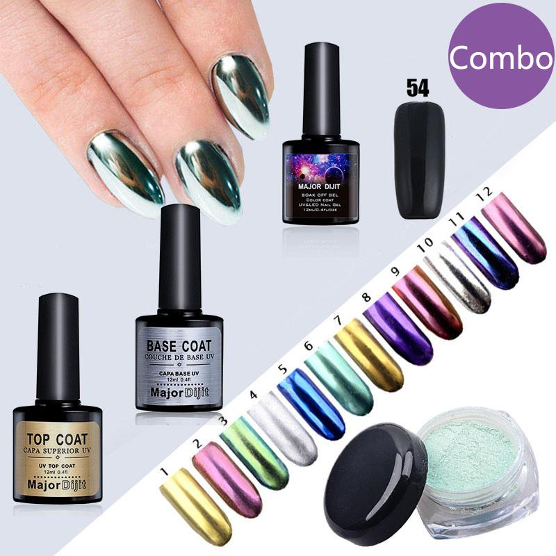 New Nail Glitter Pigment 2g Mirror Powder With Black Gel Polish Base ...