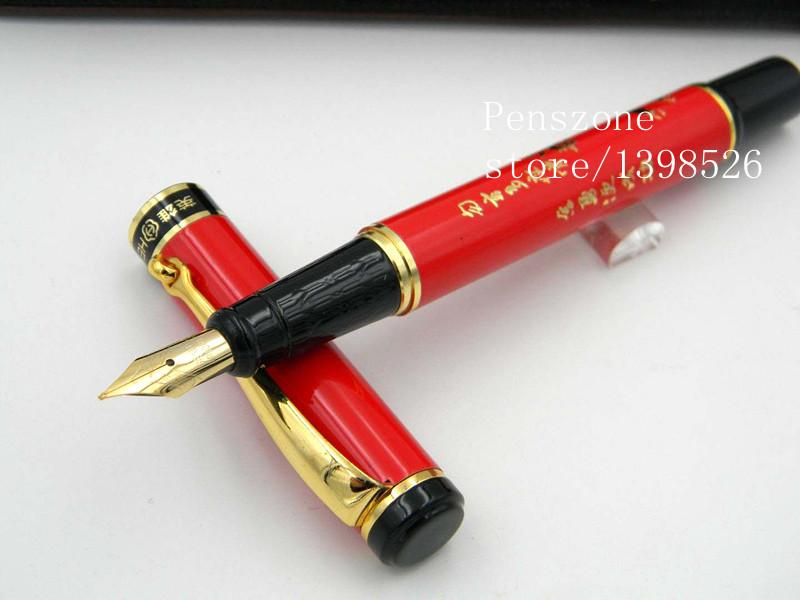 Wholesale-On Sale HERO Red Chinese Ceramic Fountain Pen Gold Nib Medium