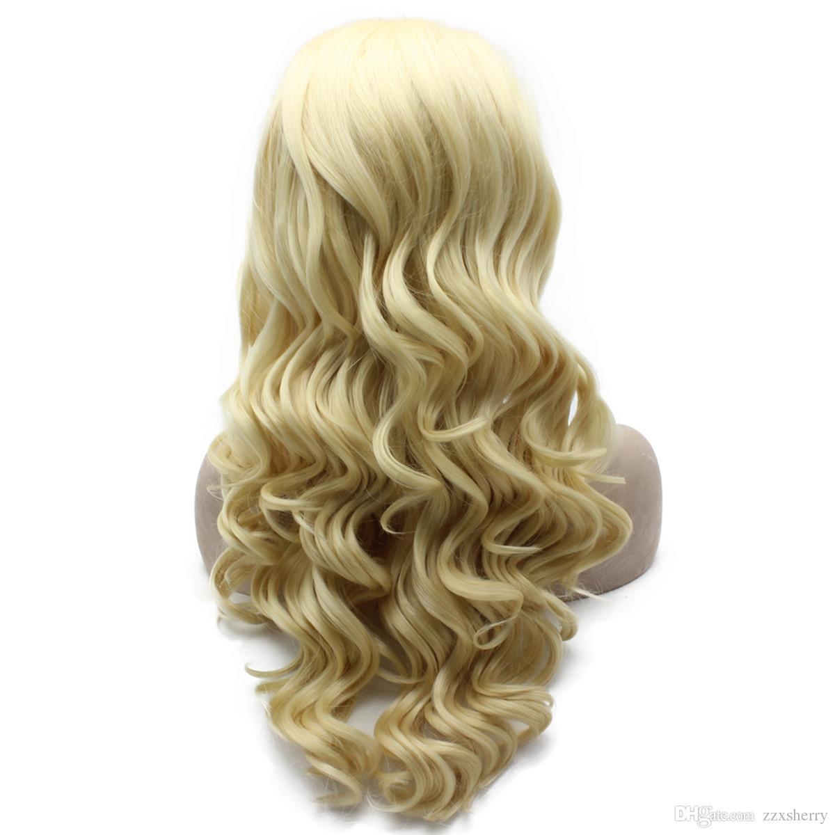 Long Wavy 613 Blonde Heat Safe Fiber Hair Natural Lace Front Wig