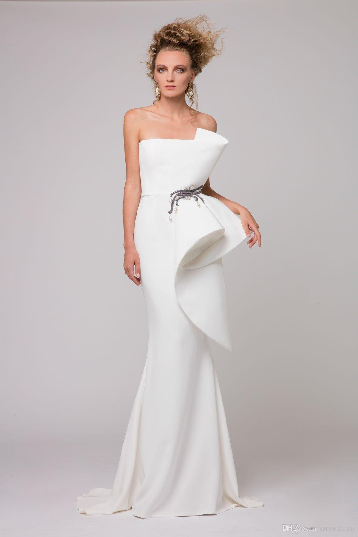 The 2017 Aosta White Mermaid Evening Gown, A Shoulder Embroidered ...