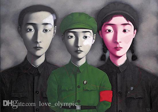 Framed,Wholesale, Pure Handcraft portraits art Zhang Xiaogang oil painting on High Quality canvas & Cotton & linen Multi sizes,R185#