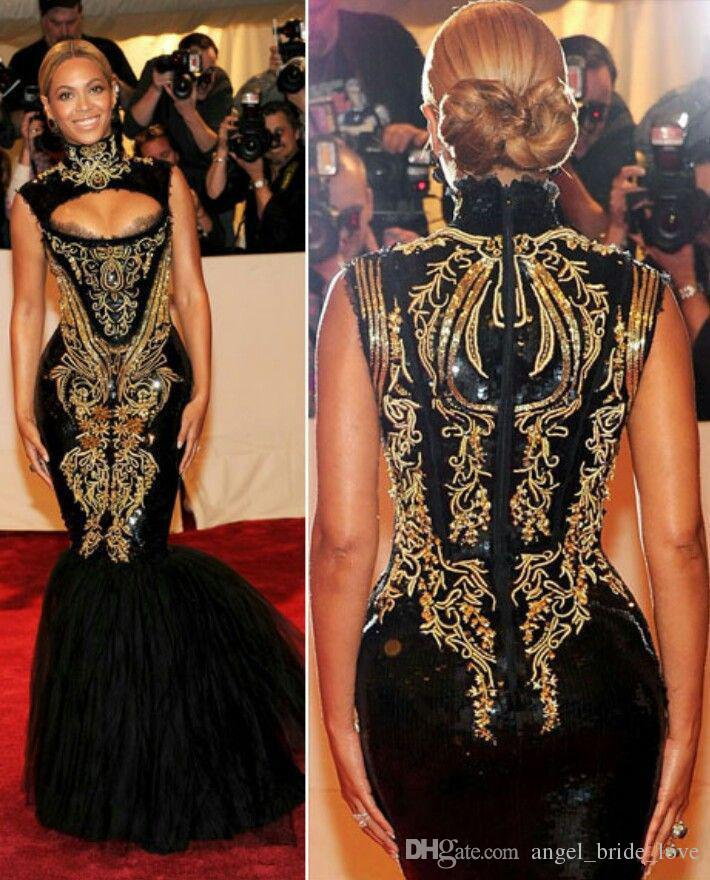 2017 vestidos de noche de la venta caliente Beyonce Gala negro y bordado de oro con cuentas de cuello alto palabra de longitud sirena Celebrity Dresses WD1016