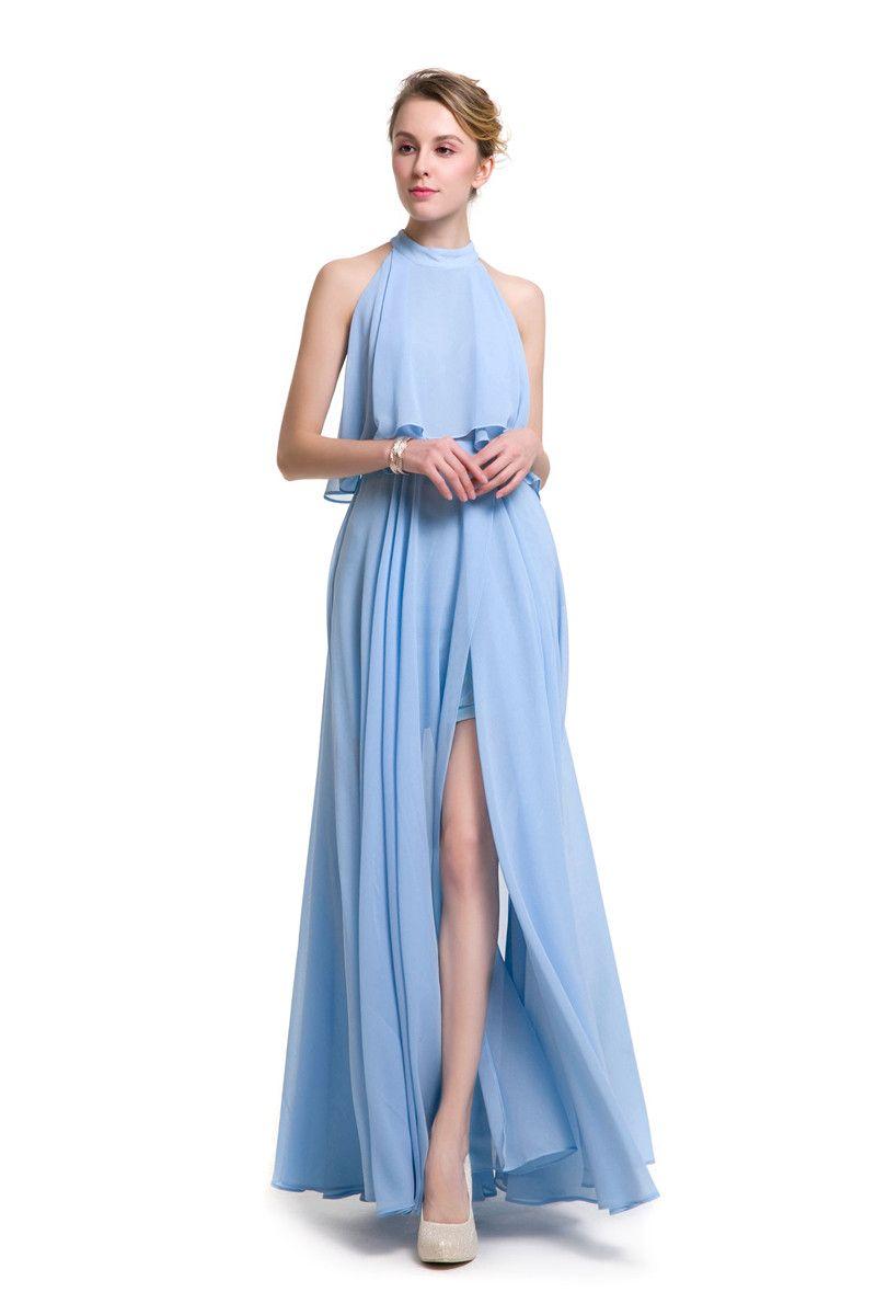Großhandel Halter Chiffon Langes Kleid Frauen Backless 2017 ...