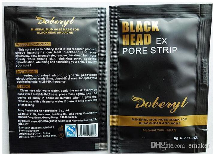 6g DOBERYL Siyah Kafa Maskesi Yüz Bakımı Yüz Siyah Nokta Remover Burun Akne Tedaviler Derin Temizlik Mineral Çamur EX Gözenek Şeritleri Temizleyici