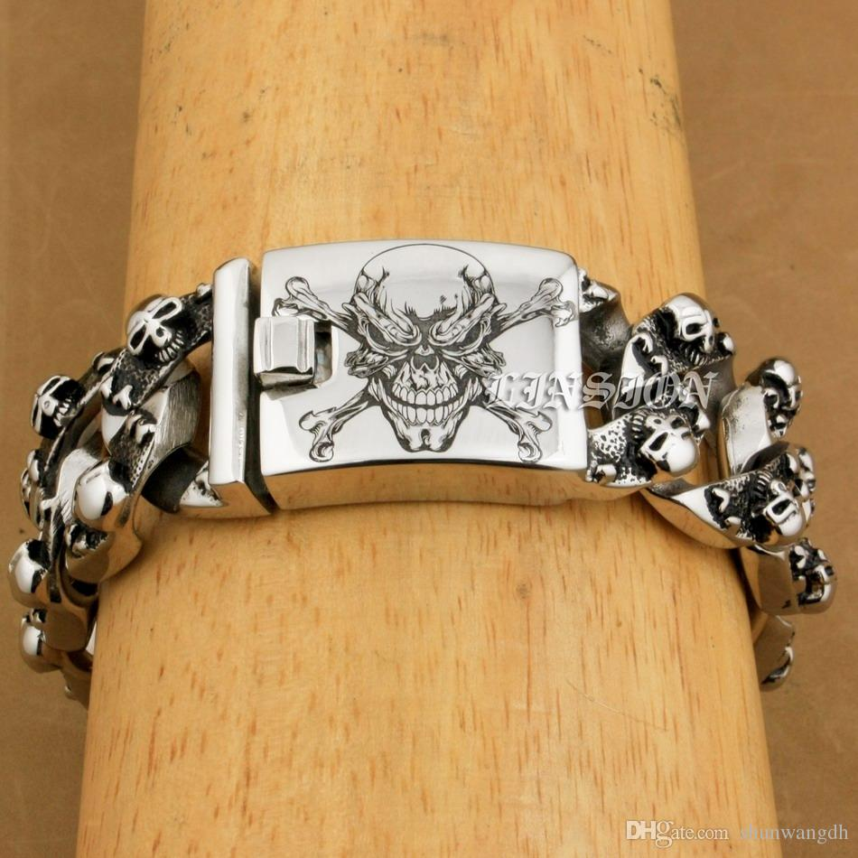 LINSION Huge Heavy 316L Stainless Steel Deep Laser Engraved Pirate Skull Bracelet Mens Biker Punk Curb Link Chain 5F104