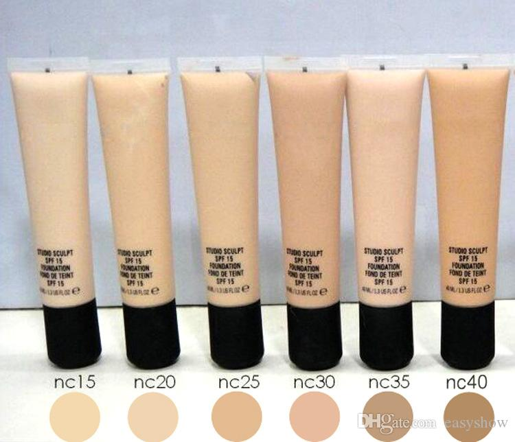 Lowest price!High quality Brand sculpt foundation SPF15 NC15-20-25-30-35-40 40ml Liquid Foundation SPF15 STUDIO FON DE TEINT 40ML
