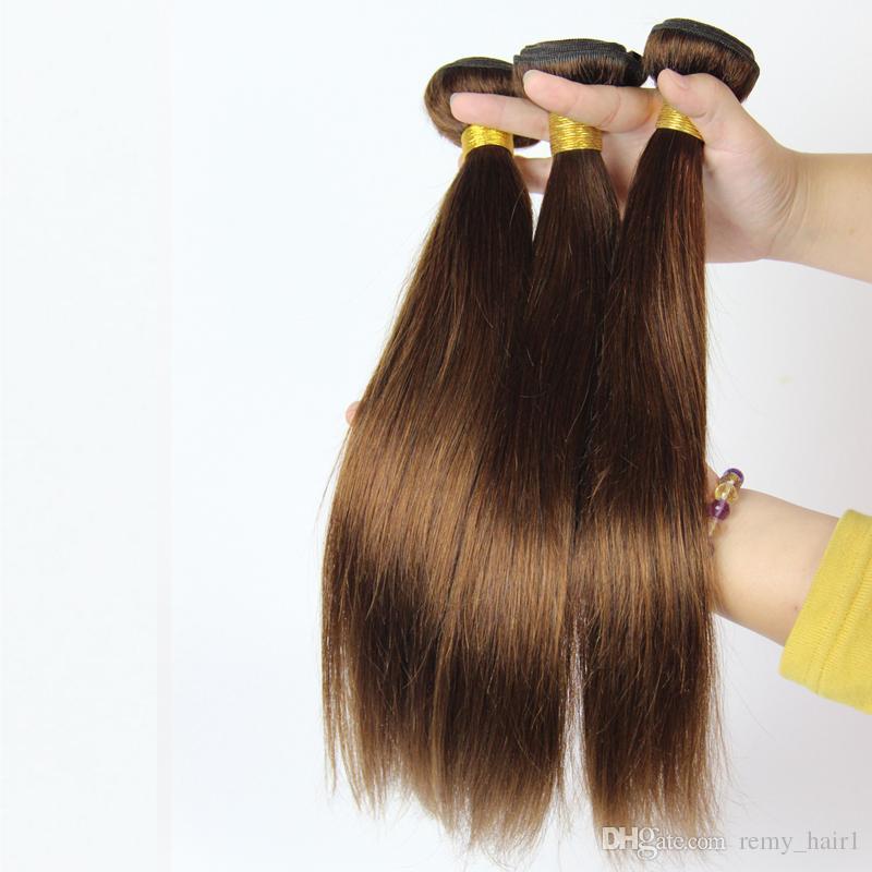 Top-Qualität Malaysisches Menschenhaar # 4 Mittelbraun Menschliches Haar Tressen Verlängerungen Schokobraun Malaysische Haarwebart Bundles Doppelfäden