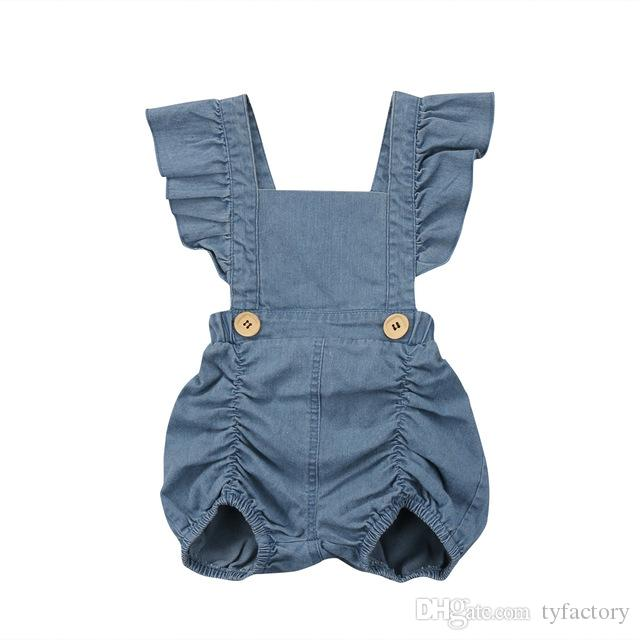 5af15fcdb9860 2019 Cute Infant Kid Girl Clothes Denim Romper Sleeveless Summer Clothes  Outfit Girls Backless Rompers Sunsuit Baby Toddler Boutique Costume From  Tyfactory