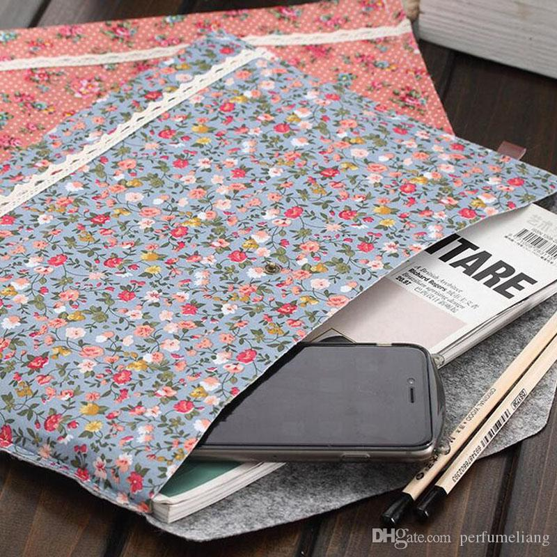 Cute Korean Style Little Flowers Fabric A4 File Folder Document Filing Bag School Office Supply Storage Bag ZA5066