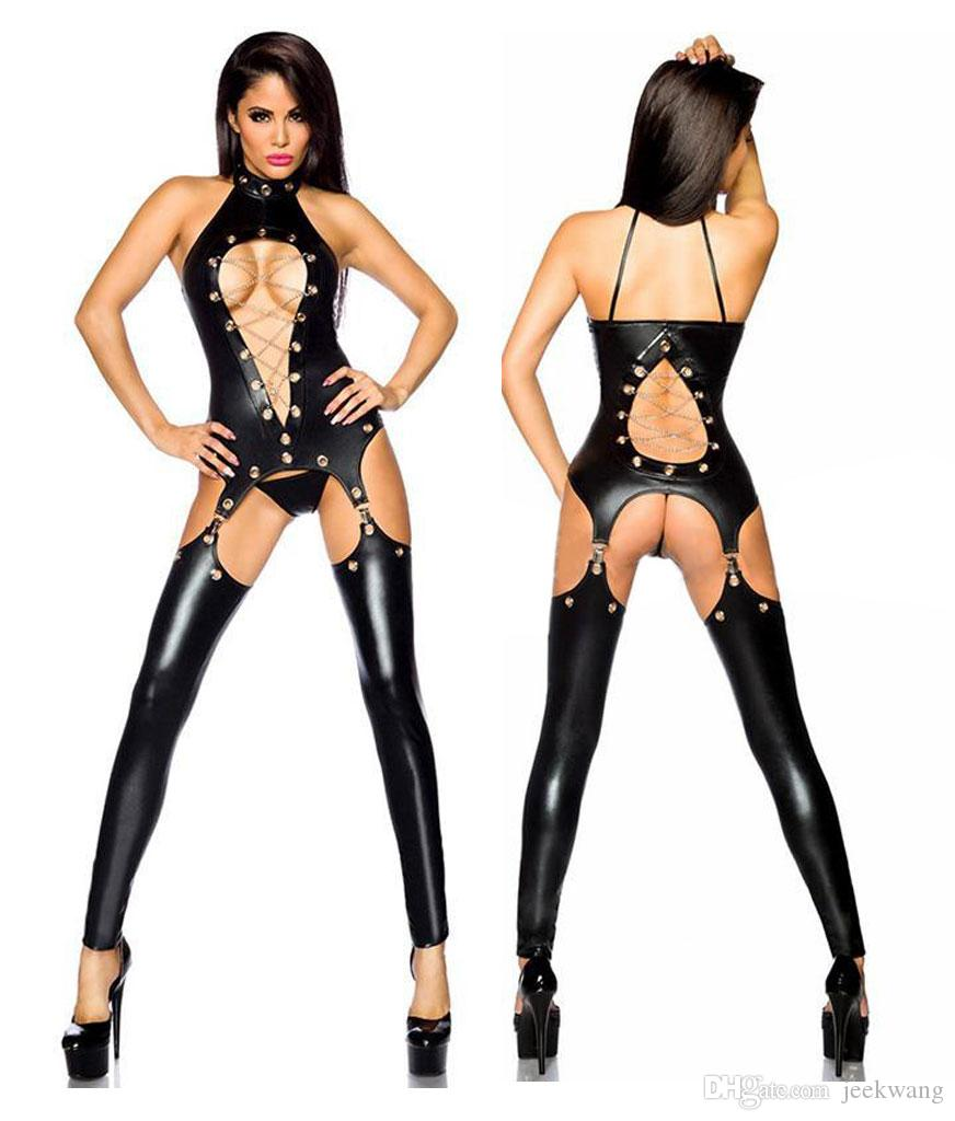 Sexy Women Exotic Clubwear Faux Leather Wet Look PVC Lingerie Catsuit  Ladies Girl Fancy Dress Jumpsuit XB850707 M XL Lingerie Faux Leather  Catsuit Online ... 82849e0dc