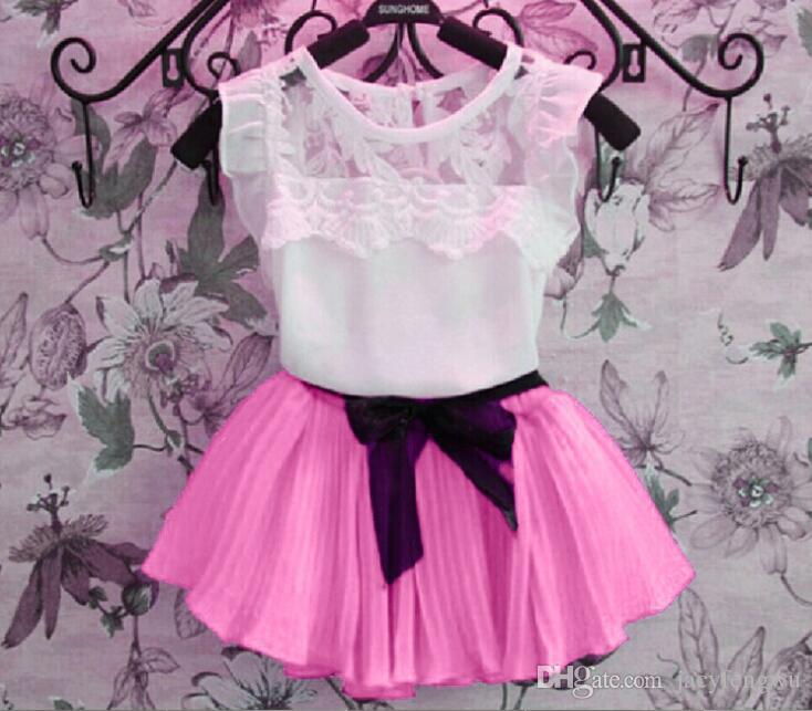 boutique girls clothing Baby Girls Clothes Sets Children lace tulle bow dress Kids clothes children tees skirts chiffon Outfits XZT007