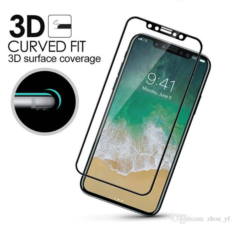 For iPhone 8 Plus iPhone X 3D Full Cover Color Tempered Glass Soft Edge Screen Protector for iPhone8 7 Plus with Box Package