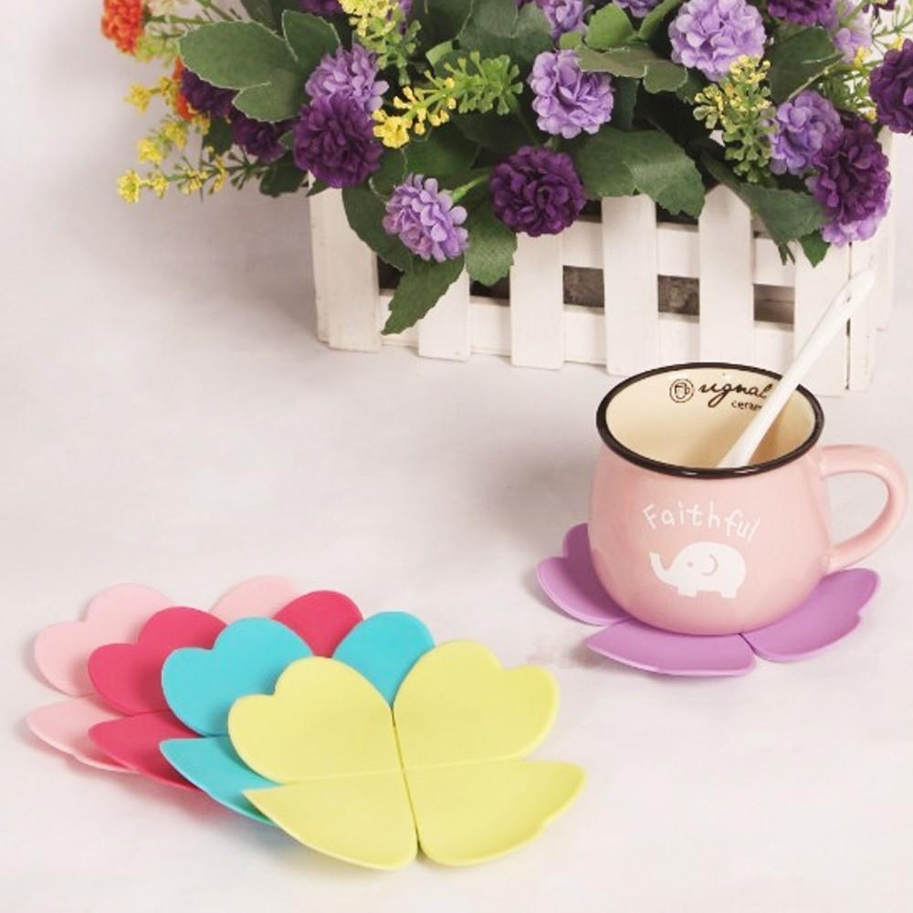 3D Mixed Colors Flower Petal Shape Cup Coaster Tea Coffee Cup Mat Table Decor Durable Pretty Drink