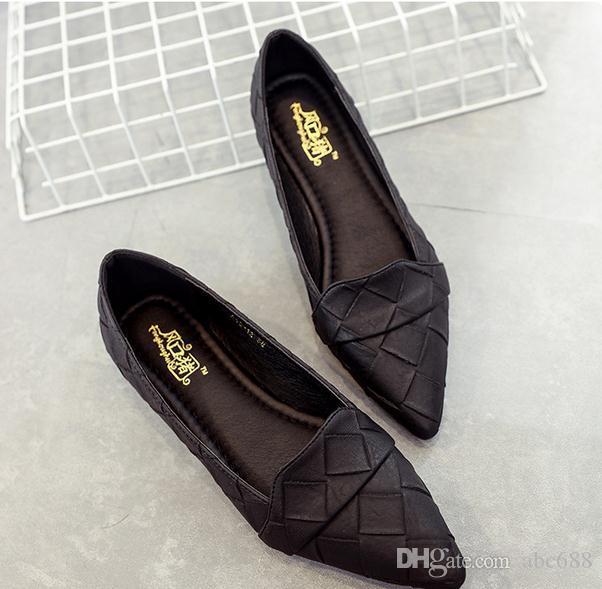 US-Größe: 4,5 bis 8 Frauen einzelne Schuhe Karree Ballerinas weicher untere Schuhe Art und Weise der Arbeit Frau flach Mokassins