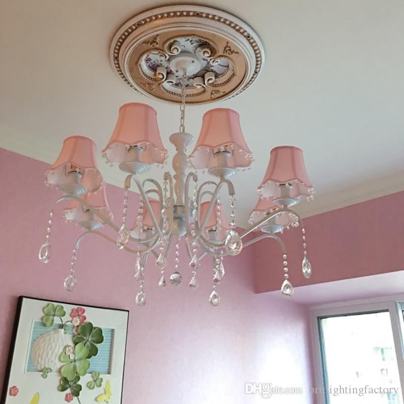 American Kinderzimmer Kronleuchter Mädchen Prinzessin Pink Tuch einfache  europäische Mittelmeer Schlafzimmer Eisen Kristall Kronleuchter Boutique ...