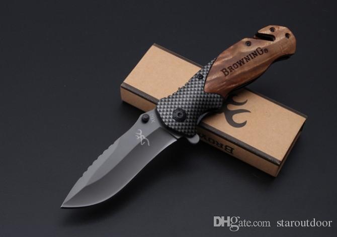 Whoesale براوننج x50 التيتانيوم التكتيكي الطي سكين زعنفة 5cr15mov الخشب مقبض زعنفة التخييم الصيد بقاء الجيب جمع عيد الميلاد