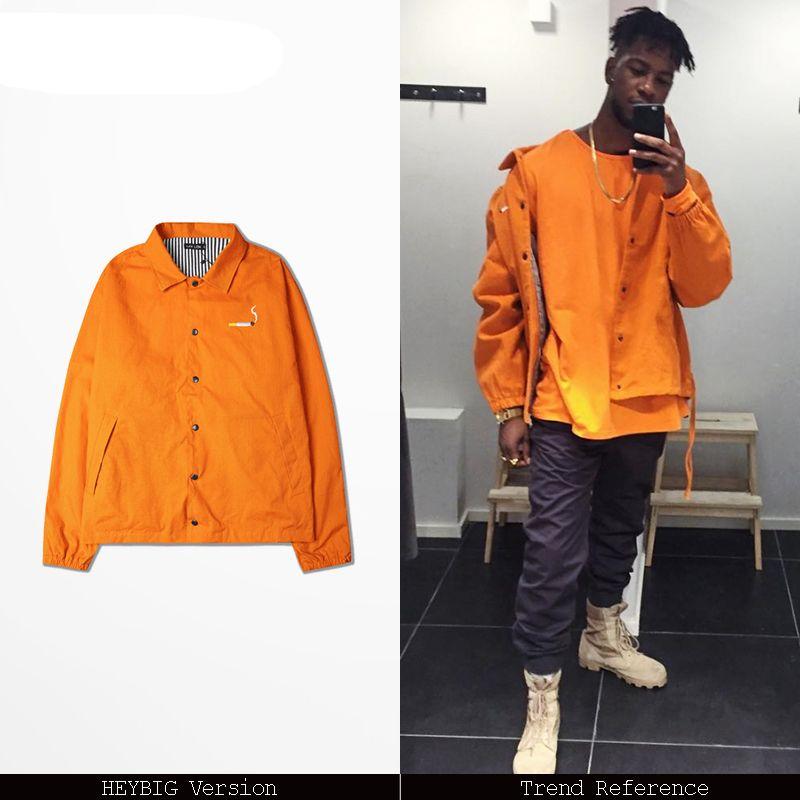 a59171d2d embroidery slogan fashion Jacket Orange Coat Hip hop MEN jackets Turn-down  color botton up outerwear October 2017 OVERSIZE width