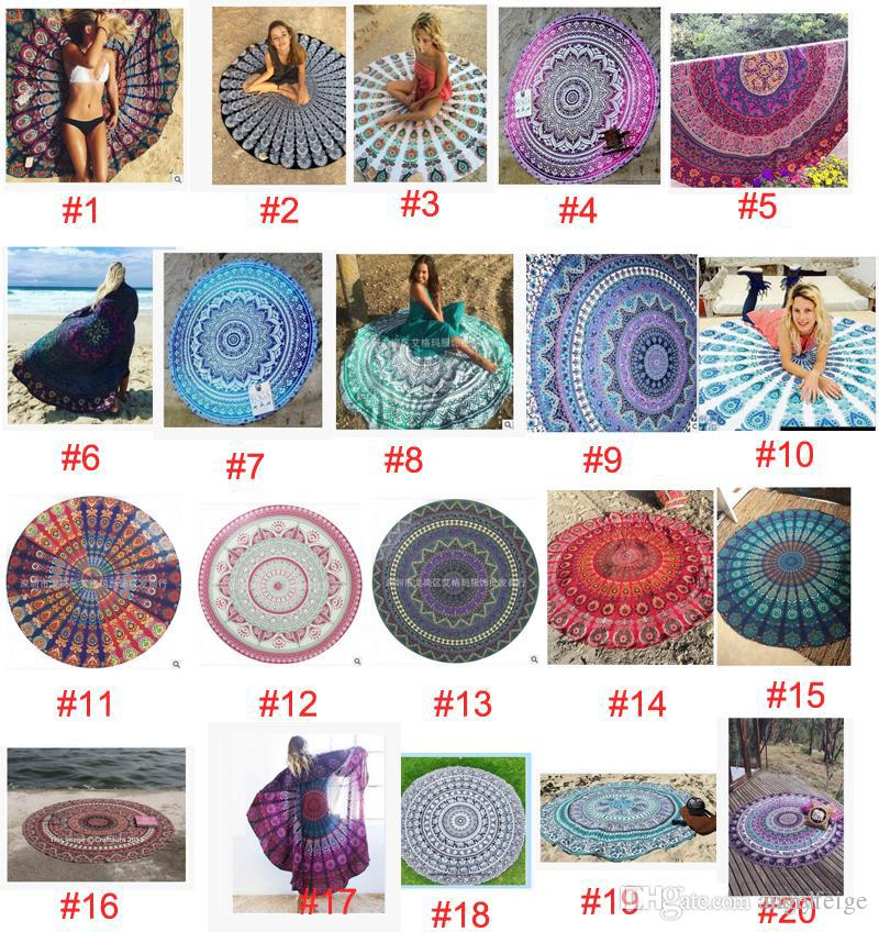20 style 145*145cm Round Colorful Beach Towels Bohemian Style Outdoor Pads Bikini Cover-Up Blanket large Shawls