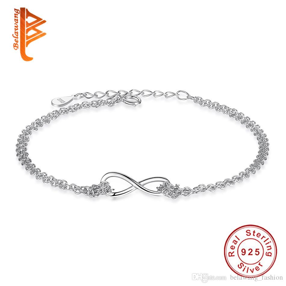 5fed2b060 2019 BELAWANG 925 Sterling Silver Infinity Bracelet Adjustable Double Layer  Link Chain Bracelets For Women Lover Wedding Party Jewelry Gift From ...